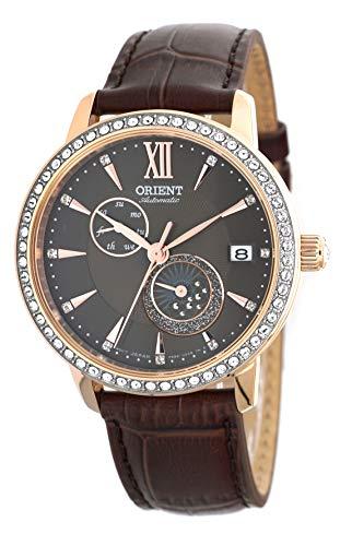 ORIENT Reloj de pulsera de Swarovski automático 'Sun and Moon' con esfera marrón y oro rosa para mujer RA-AK0005Y