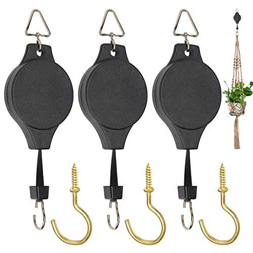 3 Pack Plant Pulley Hanger, Retractable Plant Hook Pulley, Adjustable Heavy Duty Plant Hanging Pulleys for Garden Baskets & Bird Feeder with 3 PCS Gold Metal Ceiling Plant Hooks (Black) (Black)
