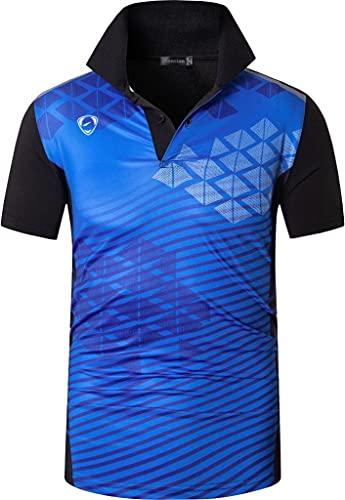 jeansian Uomo Allenarsi Sportivo Poliestere Asciugatura Rapida Camicie Workout Polo Shirt T-Shirts LSL294 Blueblack S