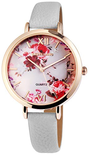 Excellanc Damen-Uhr Lederimitat Armband Blumen Floral Analog Quarz 1900094 (grau/rot)