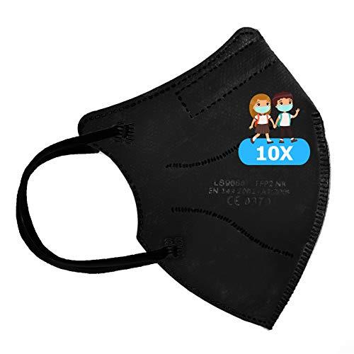 TBOC Mascarillas FFP2 Infantiles [Pack 10 Unidades] Máscaras Desechables para Niños [Color Negro] Cinco Capas [No Reutilizables] Transpirables Plegables con Pinza Nasal [Certificadas y Homologadas]