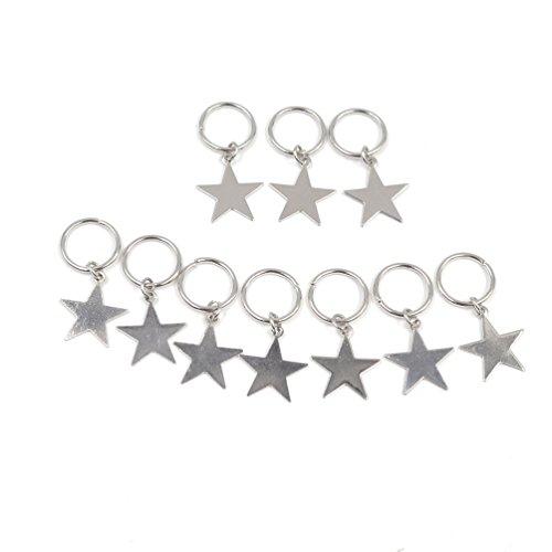 YNuth 10pcs Perles Dreadlocks Clips Cheveux Coiffure Accessoire (étoile argenté)