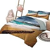 Tagesdecke Bettdecke Set Niederländisch Muster Bettdecke Traditionelle Holland Kultur Elemente mit Doodle Style Clogs Fahrräder Orange Marineblau & Weiß