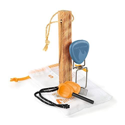Kit d'éclairage feu Light My Fire BIO - Suédois FireSteel, petit bois, fourche - 3 pièces - Bleu & orange - Fabriqué en Suède