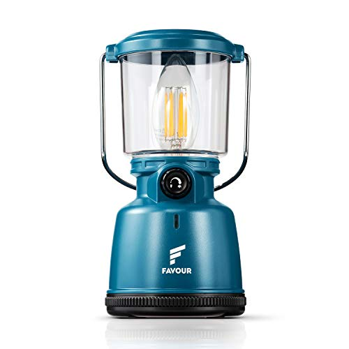 Favour Retro LED Laterne Filament Campinglampe IP64 wasserdicht, tragbare Camping licht wiederaufladbar (inkl. Akku) stufenlos dimmbar inkl. Kerzenlichtmodus, Abnehmbarer Lampenschirm