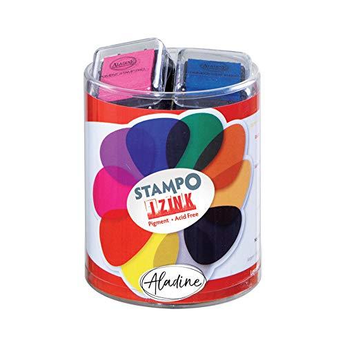 Aladine - Stampo Izink Pigment Prima - Kit de 10 Encreurs Couleurs Principales - Set Encreurs pour Tampons Scrap, DIY, Loisirs Créatifs - Couleurs Prima