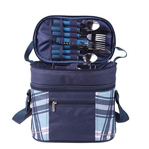 FBKPHSS Multifunktion Picknick Rucksack, Isolierung und Kühlung 2 in 1 Wasserdicht Picknicktasche Con Geschirr für 2 Personen für Strand Outdoor Camping Geeignet,Blau