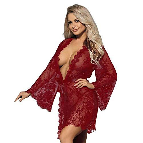 Bata De Satén para Mujer,Lencería Sexy Talla Grande Encaje Transparente De Pestañas Babydoll Bata Vestido Albornoz Kimono Chemises Homewear Ropa De Dormir para Regalos del Día De San Valentín,Ro