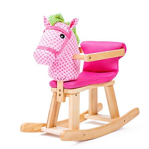 YULAN Scuotere Il Cavallo di Legno per Bambini Cavallo a Dondolo in Legno massello Musica Cavallo a Dondolo Giocattolo per Bambini Sedia a Dondolo in Legno massello Staccabile (Color : Pink)