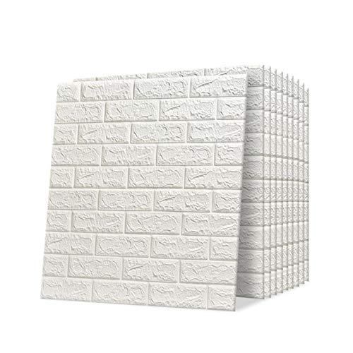 Trintion 10 Stück 3D Wandpaneele Selbstklebend Ziegel Tapete Steinoptik Wandaufkleber Wasserdicht Wandtapete für Schlafzimmer, Badezimmer, Wohnzimmer, 70x77cm, Weiß