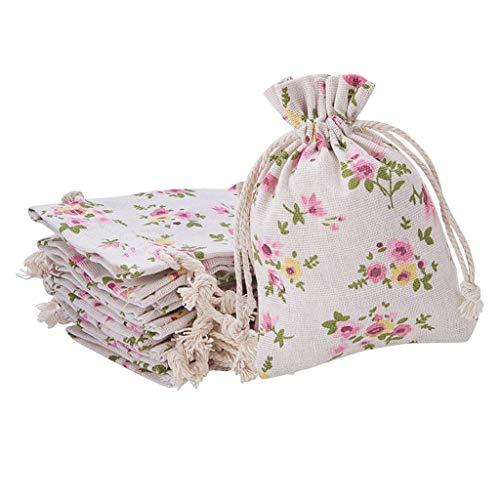 chiwanji 30Pcs Pochettes de Bijoux en Lin Imprimé de Fleur Couleur Pochettes Sachets Chanvre avec Cordon