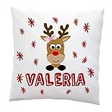 Cojin Navidad reno lazo. 40x40 cm, incluye relleno. Idea original decoración personalizado. Regalo amigo invisible navideño