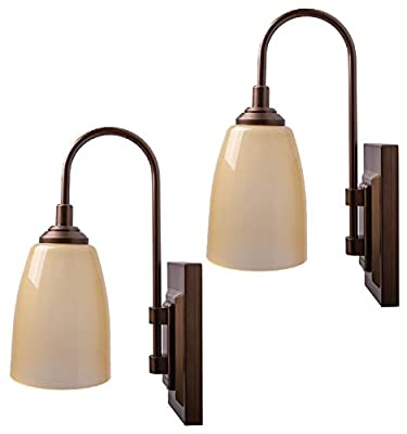 Westek Battery Operated Wall Sconces – 2 Pack, Bronze Finish – Easy Wireless Installation, 4 Hour Auto Shut-Off – 2 Brightness Levels – 100 Lumen Battery Operated Wall Light