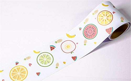 Cenefas de papel pintado autoadhesivas Fruta PVC Cenefa autoadhesiva Impermeable be móvil para baño Cocina Decoración Etiqueta de la Pared 12CM X 300CM