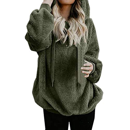 Hemd Damen Jacke Pullover Damen Hoodie Winter Lose Warm Kapuzenpullover Fleece Langarm Sweatshirt mit Kapuze Tasche Tunika Sweatshirts 2020 Herbst Winter neu Mantel Oberteile Bluse M