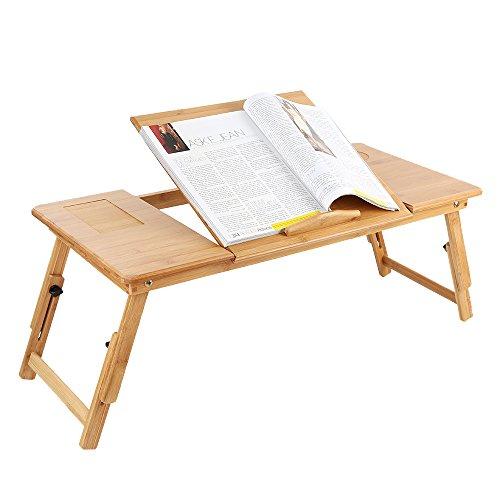 Zipom 100% escritorio plegable y portátil hecho de bambú, mesa y bandeja...
