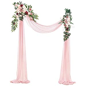 Silk Flower Arrangements Ling's moment Artificial Wedding Arch Flowers Kit(Pack of 3) - 2pcs Burgundy & Dusty Rose Aobor Floral Arrangement with 1pc Semi-Sheer Swag for Ceremony and Reception Backdrop Decoration