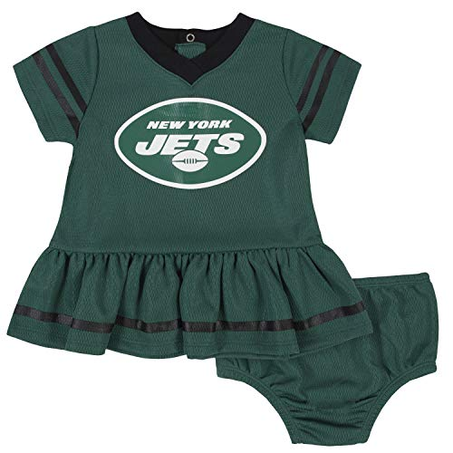 NFL New York Jets Team Jersey Dress and Diaper Cover, Green/White New York Jets, 3-6 Months