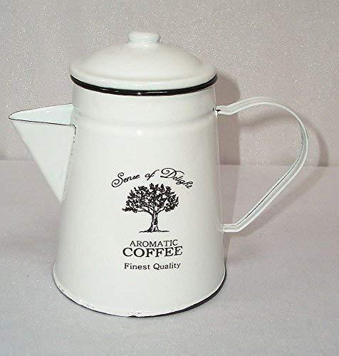 linoows Kaffeekanne, Emaille Kaffeekanne im Nostalgie Stil, weiß- schwarz, 1,2 Liter