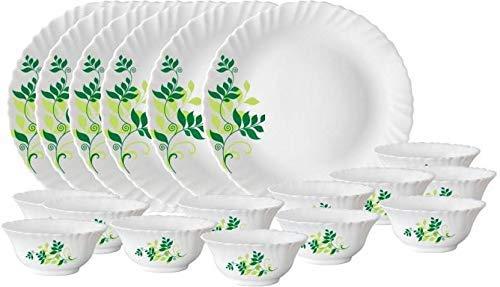 Larah by Borosil Fern Opalware Dinner Set, 33-Pieces, White