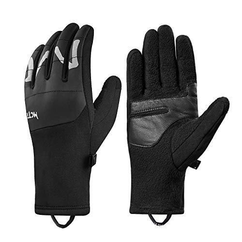 Botack Winter Lightweight Running Gloves Touchscreen Polar Fleece Goatskin Leather Gloves for Driving Riding Cycling(Black,Men-Large)