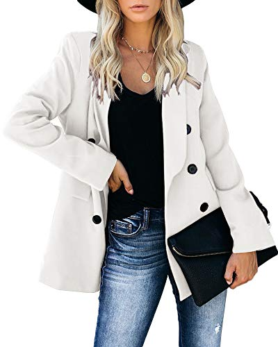 SAIKESIGIRL Women's Open Front Long Sleeve Work Office Blazer Jacket Cardigan Casual Basic OL Blazer Suit White