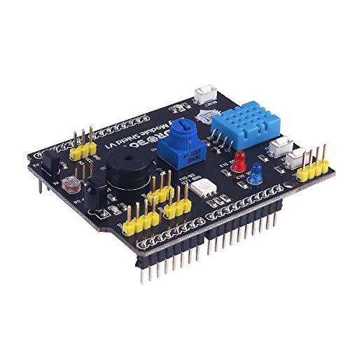 ARCELI Tarjeta de Expansión Arduino Tarjeta de Expansión Multifunción Incluye Sensor de Humedad DHT11 Sensor de Temperatura LM35 9 en 1 Compatible Arduino UNO R3