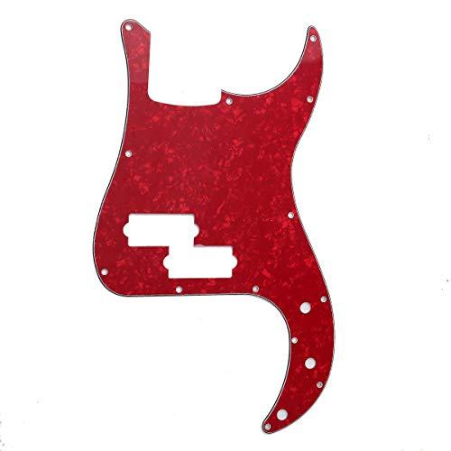 Musiclily 13 Agujeros Precision Bass Pickguard Golpeador para Fender American/México Standard Bajo Estilo P, 4 capas Red Pearl