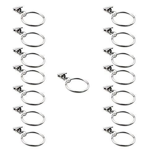 Gracallet 15 pcs Premium Metal 1-1/4' Inner Diameter Drapery Curtain Rings with Clips