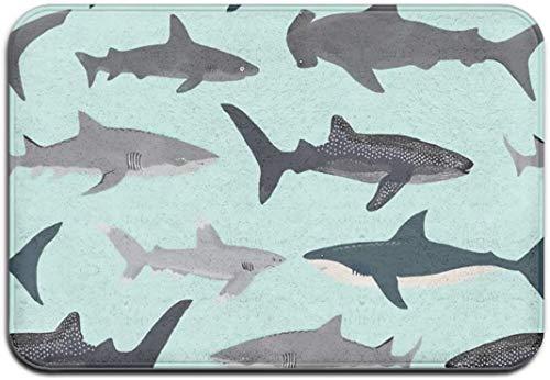 Trippy Weed - Felpudo para puerta delantera, grande, para interiores y exteriores, impermeable, de perfil bajo, con estilo, para garaje, patio, nieve, rascador delantero, 191024a202 Sharks-Talla única