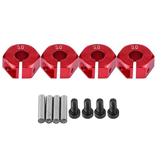 V GEBY Adaptador de Cubo de Rueda, Conversión de extensión de Adaptador de Cubo RC Universal de 12 mm para Coche RC a Escala 1/10(5 mm-Rojo)