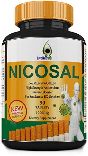 Smokers Vitamin 90 Tablets Nicosal, High Strength Immune Booster for Smokers and Ex-Smokers, Lung Clear, Nicotine Detox