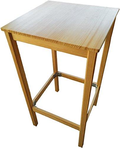 Tavolino da bar alto 114cm con piano di 59x 59cm. Pino naturale