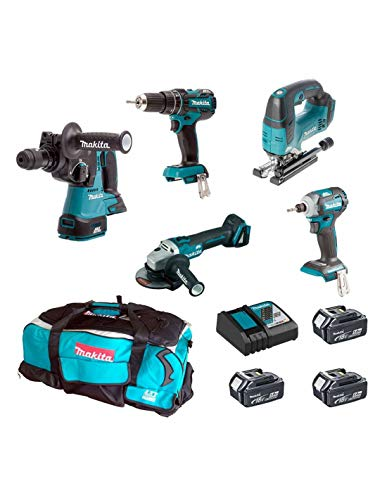 MAKITA Kit MST5T3BL3 18V (DHR243 + DTD148 + DGA504 + DHP480 + DJV182 + 3 x 5,0 Ah + DC18RC + Trolley)'Brushless'