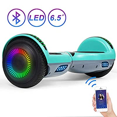 """SISIGAD Hoverboard Self Balancing Scooter 6.5"""" Two-Wheel Self Balancing Hoverboard with Bluetooth Speaker and LED Lights Electric Scooter for Adult Kids Gift"""