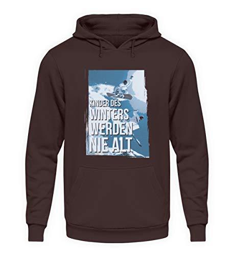 shirt-o-magic Skifahrer Snowboarder: Kinder des Winters - Unisex Kapuzenpullover Hoodie -XL-Schokolade
