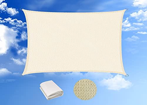HENG FENG Toldo Vela de Sombra Rectangular 4 x 6 m Protección Rayos UV Solar Protección HDPE Transpirable...