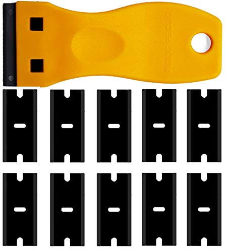 Double Edged Plastic Razor Blade Scrapers Knife with Contoured Grip for Scraping Labels and Decals Sticker From Glass, Windshields and Auto Window Tint Vinyl Tool Application(Yellow Scraper+10 Blades)