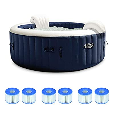 Intex PureSpa Plus 6 Person Portable Inflatable Hot Tub Bubble Jet Spa, Navy w/ Intex Type S1 Easy Set Spa Filter Replacement Cartridges (3 Pack)