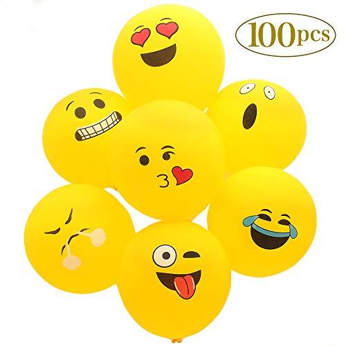 100Pcs Emoji Smiley, Party Ballons einschließlich 12 verschiedene lustige Emoji Designs,Latexballons für Kinder Geburtstagsfeier Supplies Bevorzugungen, Neuheit Hochzeit Veranstaltungen Dekoration