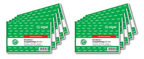 SIGEL SD026/10 Ausgabe- / Einnahmebelege A6 quer, 2x40 Blatt, selbstdurchschreibend, 10er Pack