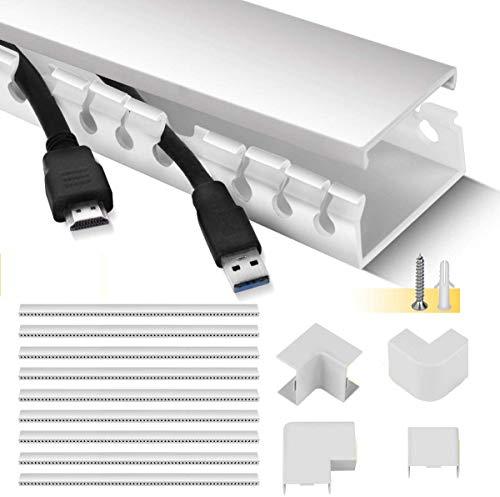 Kabelkanal, Stageek Kabelkanal selbstklebend 39x4x2cm PVC 3.5 M Länge, TV Kabelkanal Installationskanal Wand und Decken Montage allzweck für aller Art von Kabel innen Haus Büro - 9x39cm, Weiß