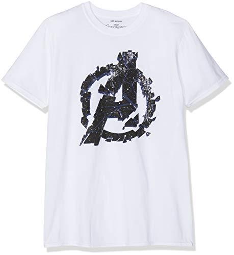 Marvel Avengers Cracked Camiseta, Blanco (White White), Small (Talla del Fabricante: Small) para Hombre