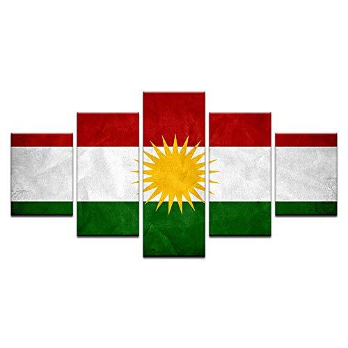 WHOOPS Moderne Hd Flagge Wandkunst Kurdistan Banner Poster Wohnkultur 5 Panel Ölgemälde Für Wohnzimmer Gedruckt Artwork30 * 40 * 2 30 * 60 * 2 30 * 80 cm Rahmenlose