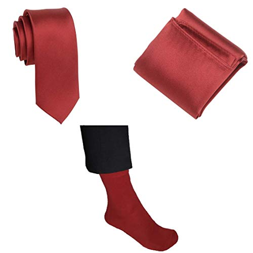 Marlone Moda Cravatta, fazzoletto da taschino e calzini in set con confezione regalo in rosso in seta
