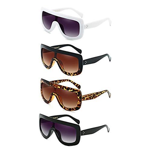 LVYY 4 paar dames zonnebril anti-uv-glazen UV 400 bescherming lens één. Cirkelloop. Doormaakglazen 3 paar gemengde kleuren.