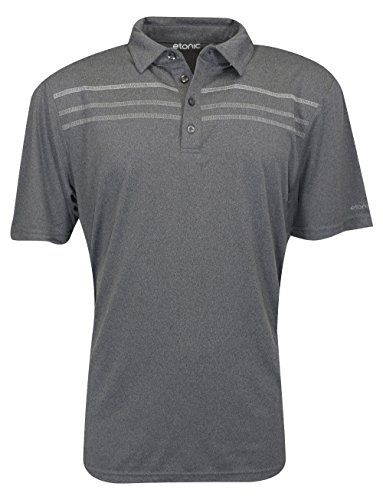 Etonic Golf- Heather Chest Stripe Polo Black/Chrome/Silver XXXL