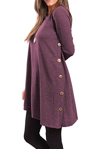 iGENJUN Women's Long Sleeve Scoop Neck Button Side Sweater Tunic Dress,M,Purple