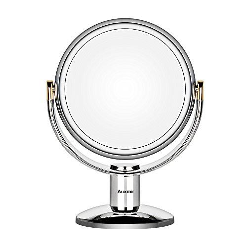 Auxmir Specchio Trucco da Tavolo, Specchio Cosmetico Biffaciale con Ingrandimento 10X/1X, Rotazione a 360° Supporto Cromato Ideale per Trucco Rasatura