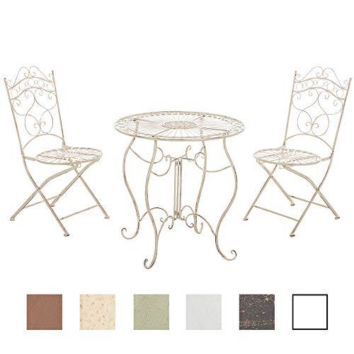 CLP Garten-Sitzgruppe Indra I Zwei Klappstühle Und EIN Tisch I Pflegeleichte Gartenmöbel Aus Eisen Im Jugendstil, Farbe:antik-Creme